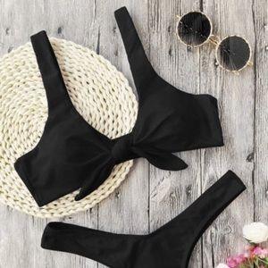 Zaful Black Tie Front Bikini Top